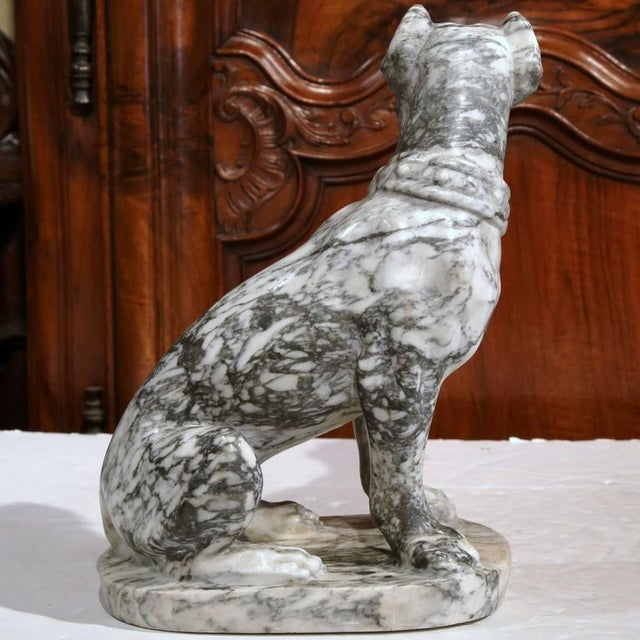 19th Century French Gray & White Marble Dog Figure - Image 7 of 10