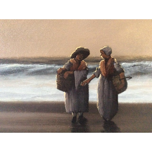 """Image of Mid-Century Marteen """"Breton Fisher Folk"""" French Oil Painting"""