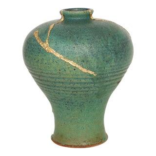 Kintsugi-Style Green Stoneware Vase