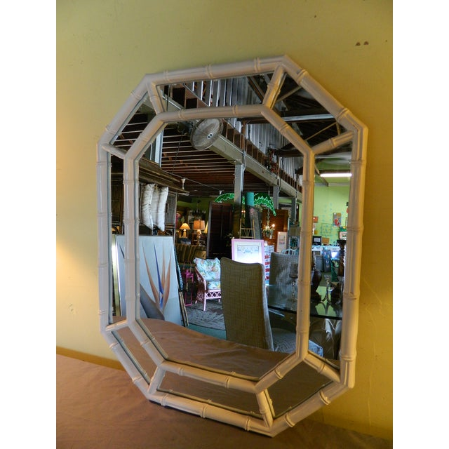 Vintage White Lacquer Faux Bamboo Mirror - Image 2 of 5