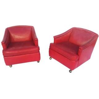 Lipstick Red Vinyl Club Chairs - A Pair