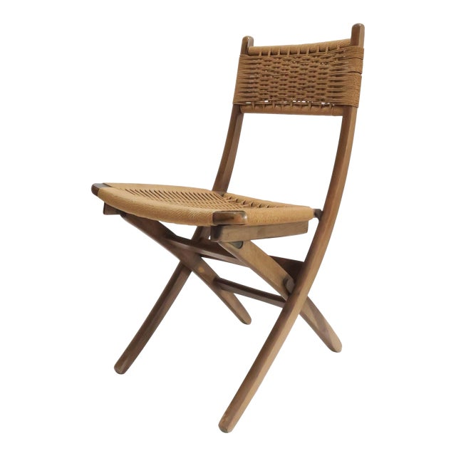 Vintage Danish Modern Rope Folding Chair - Image 1 of 7
