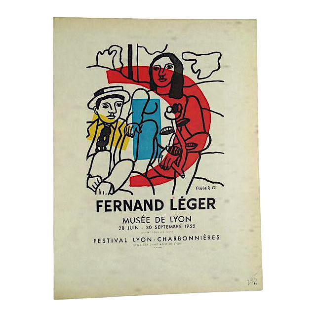 Vintage Mid Century Color Lithograph-Fernand Leger-Printed By Mourlot - Image 3 of 3