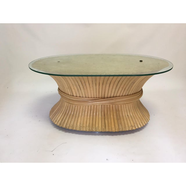 Sheaf of Wheat Rattan Oval Coffee Table - Image 2 of 7