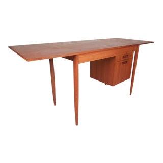 Mid-Century Modern Arne Vodder Style Slide Top Danish Teak Desk
