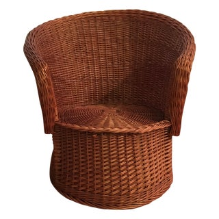 Vintage Rattan Barrel Arm Chair