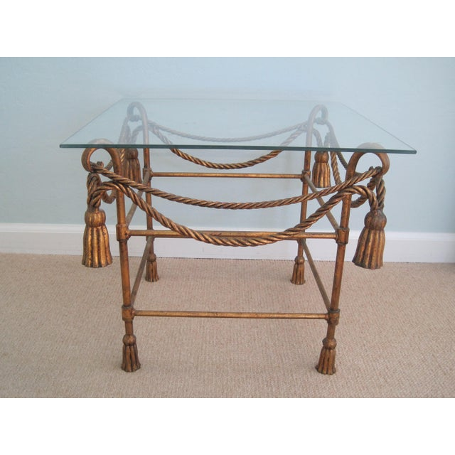 Mid-Century Italian Hollywood Regency Table With Gilt Cast Metal Rope Tassels Base Only - Image 2 of 9