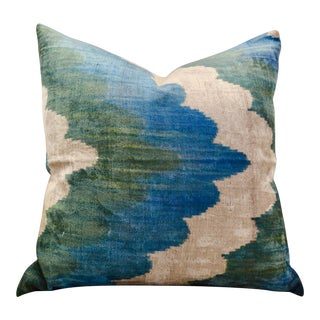Silk Velvet Ikat Throw Pillow