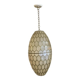Mid-Century Capiz Shell & Brass Pendant Light