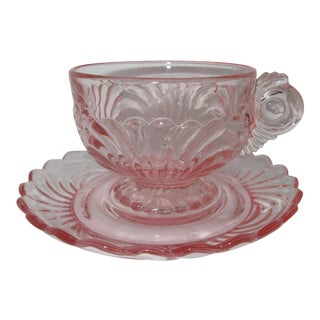 Cambridge Caprice Pink Crystal Footed Cup & Saucer Set