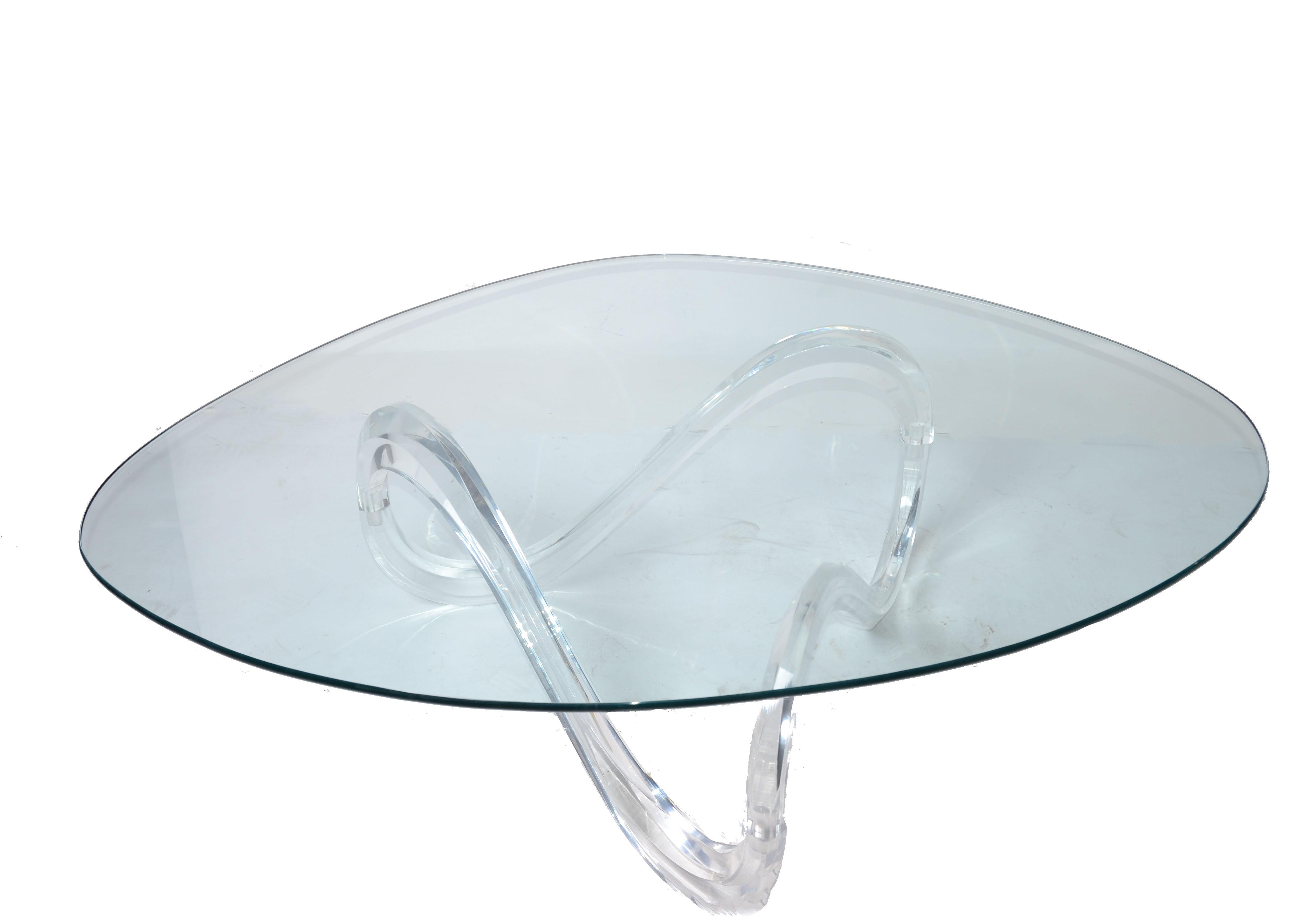 Mid century lucite ribbon coffee table chairish