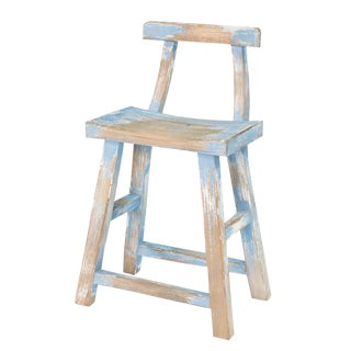 Sarreid Ltd. Blue & White Farmers Stool