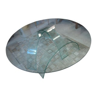 Vintage Modern Glass Round Table