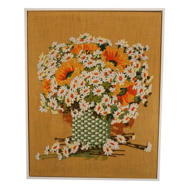 Framed Vintage Flower Needlepoint - Image 1 of 5