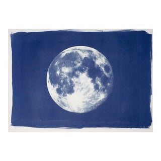 Full Moon Cyanotype Print on Watercolor Paper