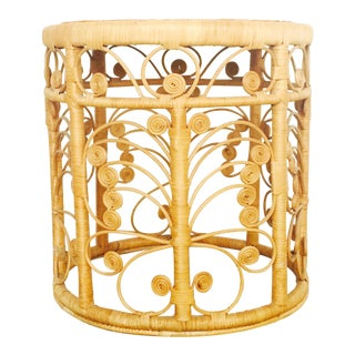 Vintage Round Rattan Stool or Plant Stand