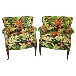 Mid-Century Tropical Barkcloth Chairs - A Pair