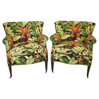 Mid-Century Tropical Barkcloth Chairs - A Pair