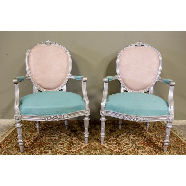 Artist Repainted Pastel Fauteuil Chairs- A Pair - Image 3 of 7