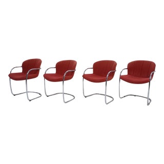 Rima Italy Red Chrome Frame Dining Chairs - Set of 4, by Gastone Rinaldi.