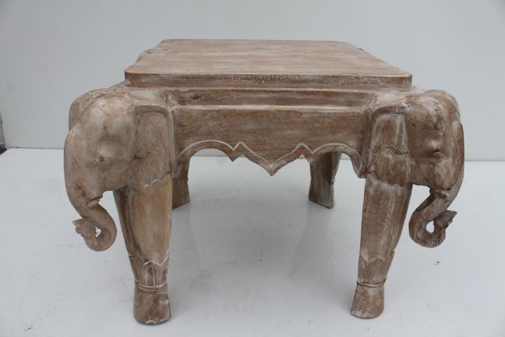 Italian Carved Wood Elephant Side Coffee Table