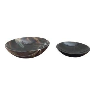 Agate Stone Decorative Bowls - A Pair