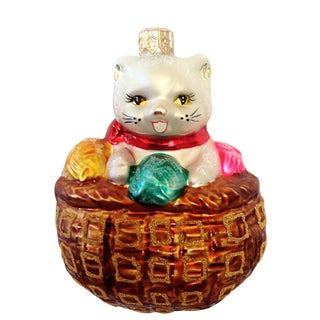 Kitten in a Basket Glass Ornament