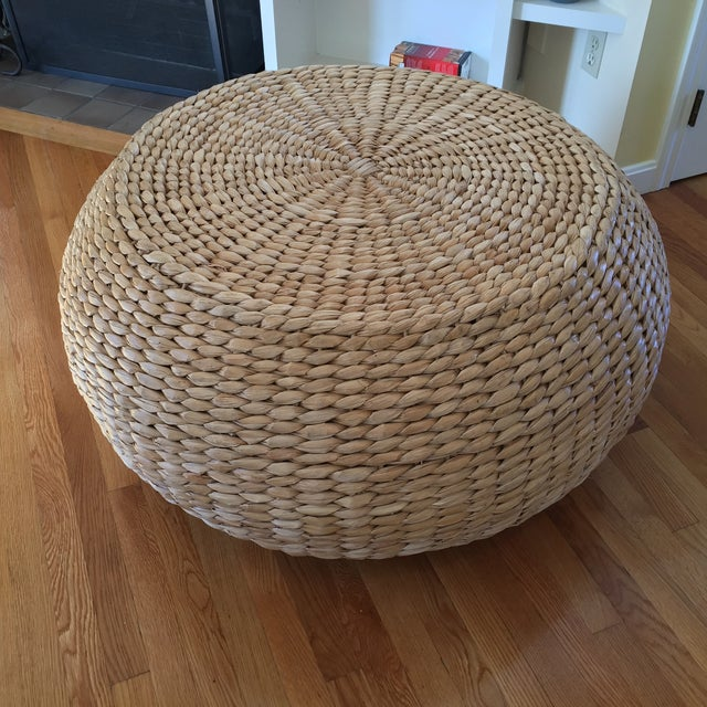 Used White Wicker Coffee Table: Pottery Barn Rattan Coffee Table