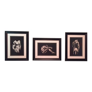 Male Nudes Batik Artworks - Set of 3