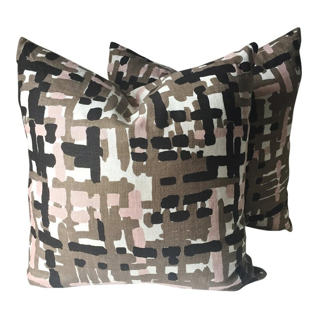 Abstract Linen Pillows - A Pair - Image 1 of 6