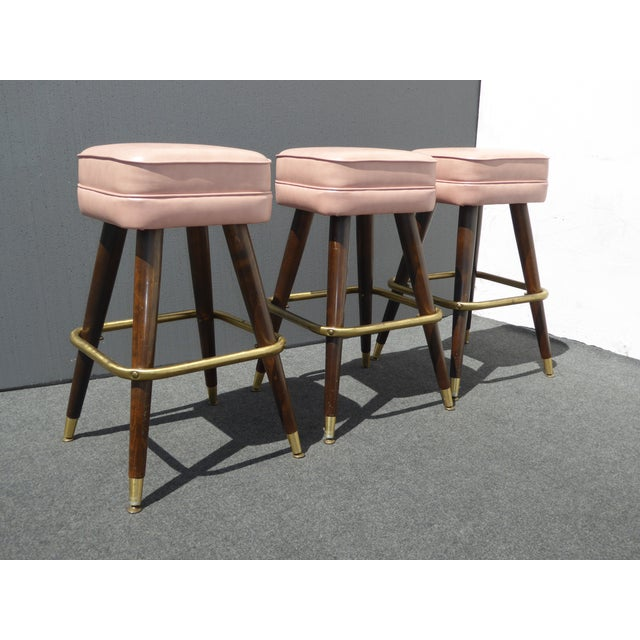 Retro Pink Vinyl Bar Stools - Set of 3 - Image 3 of 11