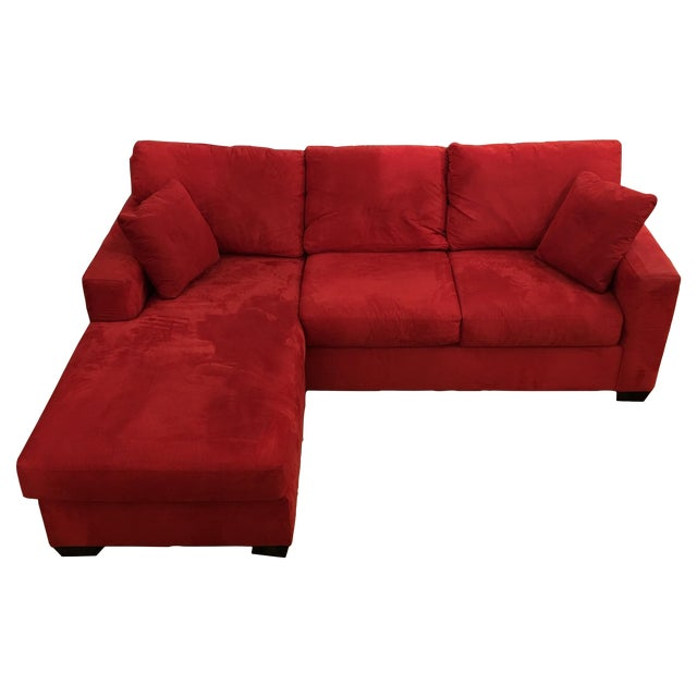 Image of Red L-Sectional Sofa