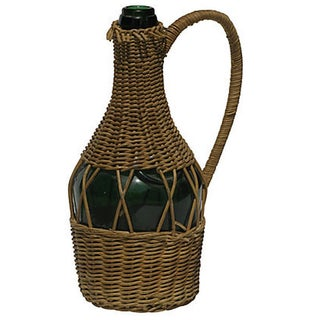 Vintage French Benedictine Bottle in Wicker