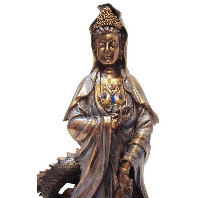 Asian Quan Yin & Dragon Statue - Image 3 of 6