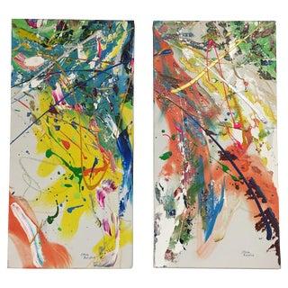 Steve Barylick Abstract Acrylic Paintings - A Pair