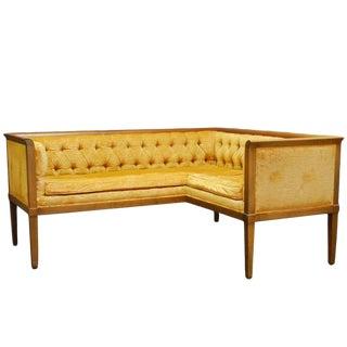 Mid Century Louis XVI Style Tufted Velvet Corner Settee