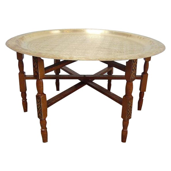 Moroccan Brass Tray Table With Folding Stand - Image 1 of 3