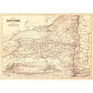 Antique Map of New York, 1885
