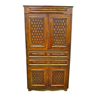 Brass Studded Leather Covered Cabinet