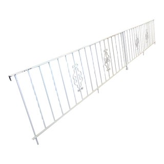 1950s Vintage White Wrought Iron Handrail Railing Gate