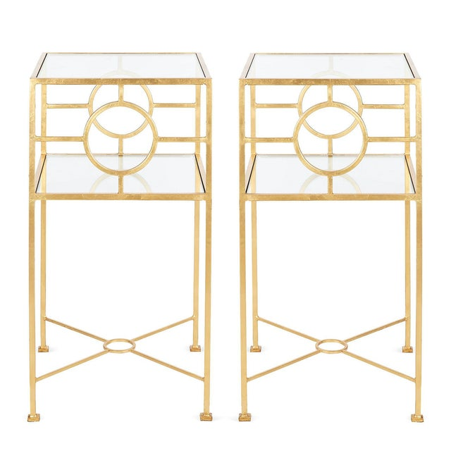 Gold Leaf Side Tables by Worlds Away - A Pair - Image 2 of 5