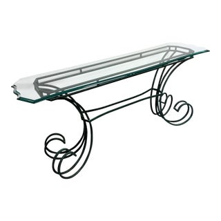 Green Metal & Beveled Glass Console Table