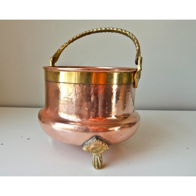Brass Feet And Handle Copper Planter - Image 5 of 7