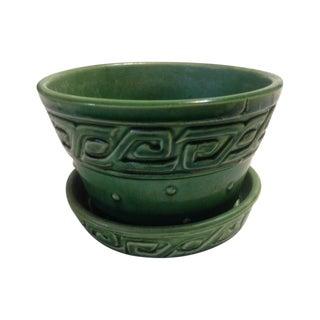 Mid-Century McCoy Green Greek Key Flower Pot