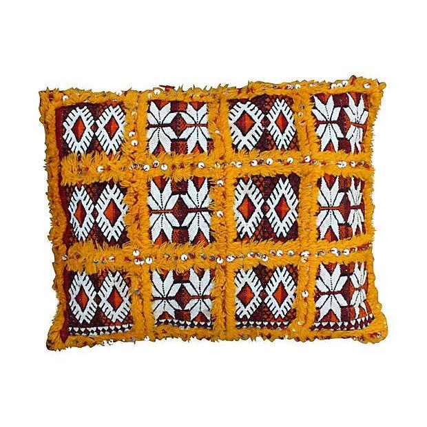 Image of Orange Grid & Sequins Berber Pillow II