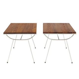 Pair of Sputnik Chrome Base Side Table