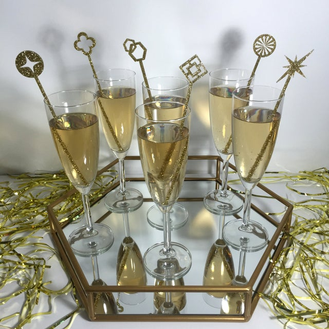 Image of Geometric Silver Glitter Drink Stirrers - Set of 6
