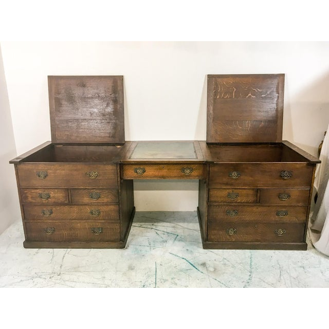 19th-C. English Oak Map Chest Desk - Image 3 of 9