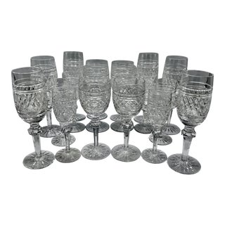 Waterford in Rare Archive Castletown Pattern Crystal Glasses - 18 Pieces