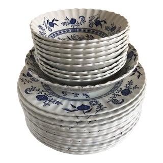 Vintage English Blue & White Plates & Bowls - Set of 24